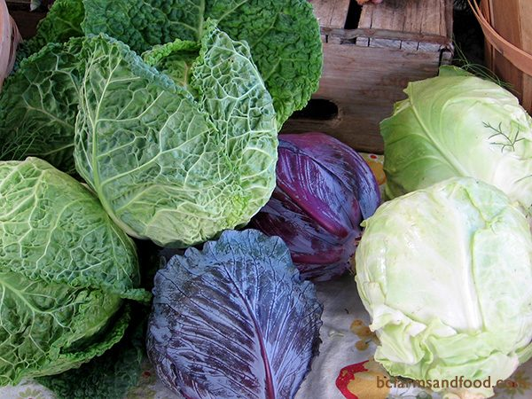 Local winter vegetables are staples for winter slaws, braising, soups and stews. These hardy greens and root vegetables include arugula, beets, bok choy, chicory, Brussels sprouts, cabbage (above), carrots, kale, mache, mustard greens, parsnips, rutabagas and turnips.