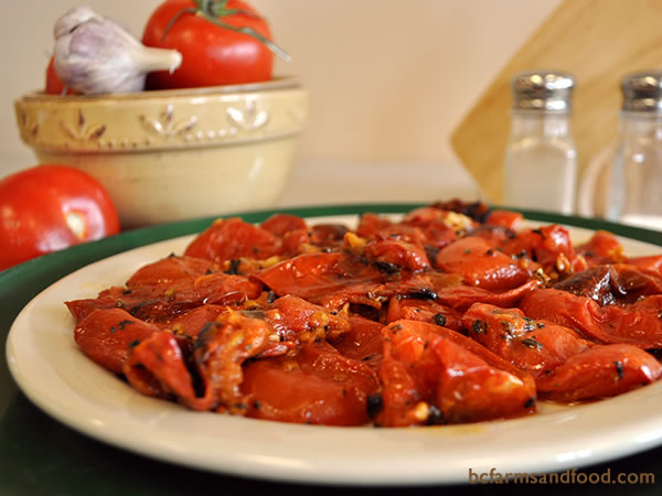 Roasted tomatoes make excellent sauce or bruschetta, and are easy to freeze.