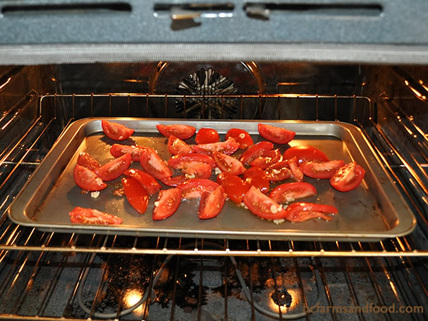 Spread tomatoes on an oiled tray and roast for 45 minutes at 350ºF (175ºC).