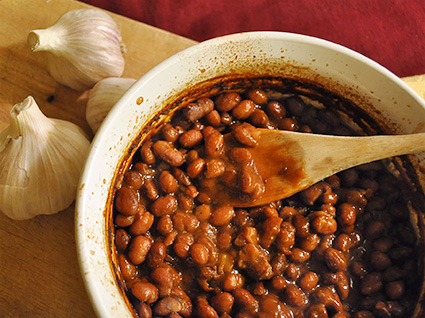 A pot of Beka Brown Maple Baked Beans, made with Beka Brown beans, a hearty heirloom dry bean.