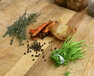 Thyme, parsley stems, peppercorns, roasted onions and carrots to add to broth.