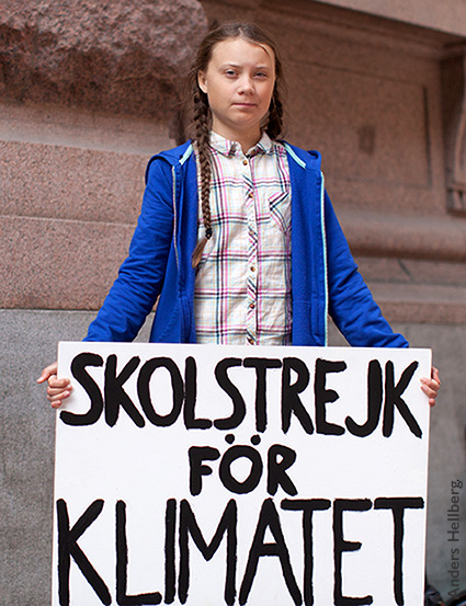 Teenaged climate activist, Greta Thunberg, holds a sign: school strike for climate. School Gardens: Preparing Kids for Climate Change.