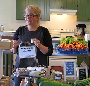 Lia McCormick in the kitchen at Clever Crow Hand Harvested Sea Salt, Herbs and Spices