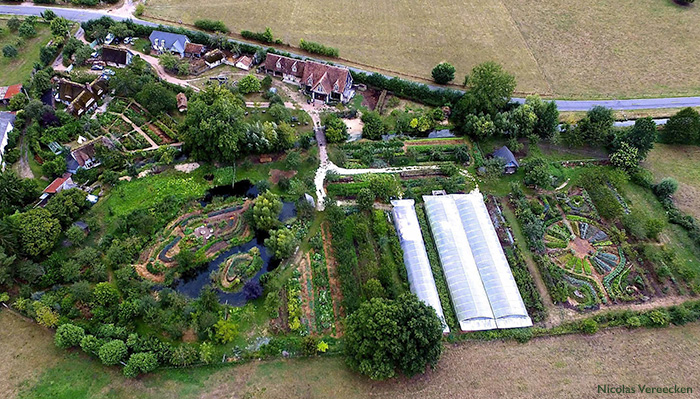 Aerial view of Le Bec Hellouin Farm, an example of profitable and ecological small-scale farming.
