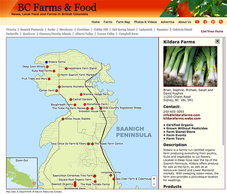 Sample of a basic farm map listing on the Vancouver Island Farms & Food Map.