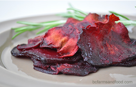 A plate of homemade beet chips.