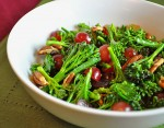 broccoli salad with red grapes and toasted nuts