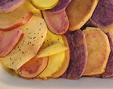 Colourful Scalloped Potatoes - Recipes and Cooking Tips for Seasonal Winter Vegetables