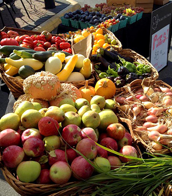 Apples, onions, squash and other fall vegetables at the Fickle Fig market booth.