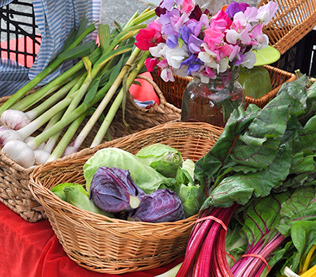 fresh vegetables at a farmers market