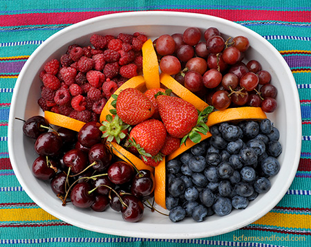 fruit platter with raspberries, strawberries, grapes, blueberries and cherries