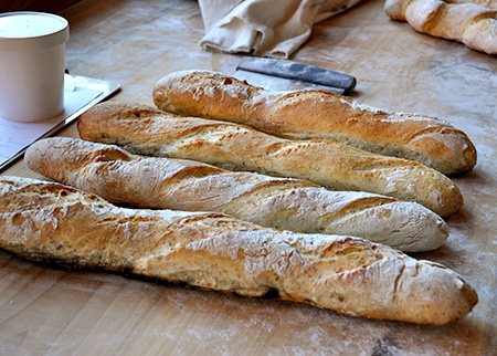 Four freshly baked baguettes on a counter. Making Crusty Artisan Baguettes.