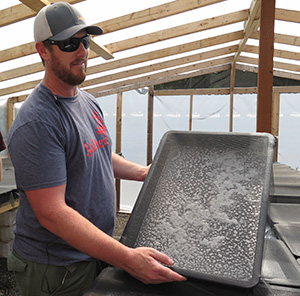 Jeff Abel shows off a tray of Canadian sun dried salt crystals at Saltwest Naturals.