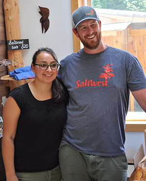 Jessica and Jeff Abel at Saltwest Naturals sea salt harvestry in Otter Point, BC on Vancouver Island.