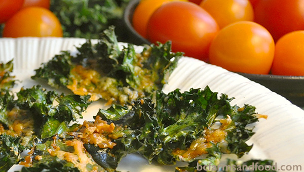 Baked kale chips with Parmesan and garlic recipe. bcfarmsandfood.com