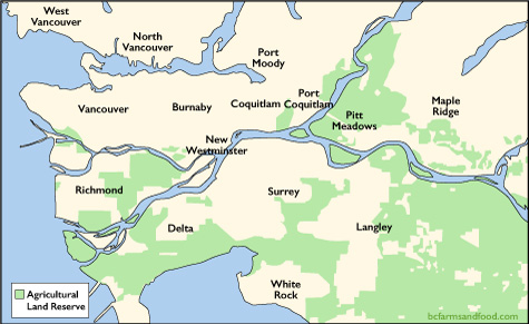 Map of the Agricultural Land Reserve in Greater Vancouver. Why Farmland Protection is Not Enough