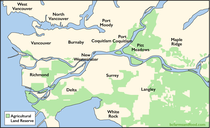 Map of the Agricultural Land Reserve in Greater Vancouver.