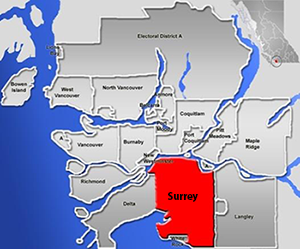 map showing surrey and lower mainland bc metro vancouver area