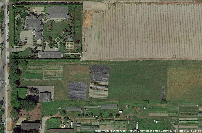 Aerial view of a large estate on unused farmland adjacent to an active farm in Richmond, BC. Why Farmland Protection is Not Enough.