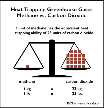 The ratio of heat trapping greeenhouse gases in methane vs. carbon dioxide 1:23