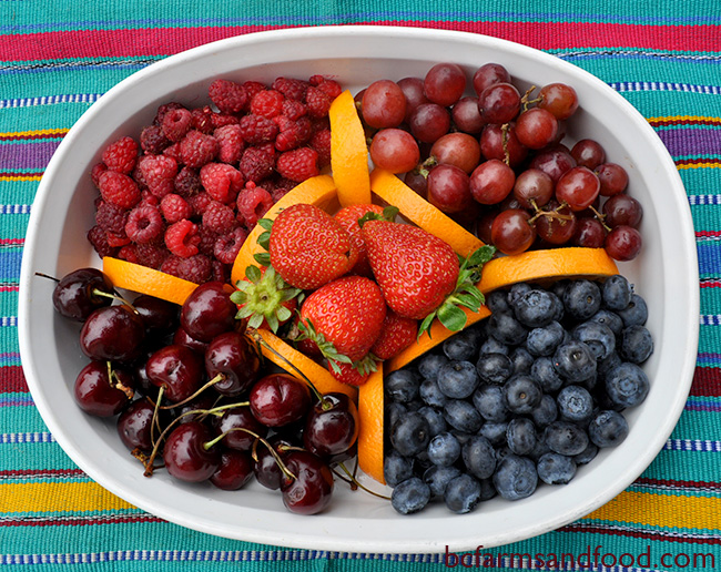 Platter of fresh organic cherries, raspberries, strawberries, grapes and blueberries. Is Organic Food Better for You?
