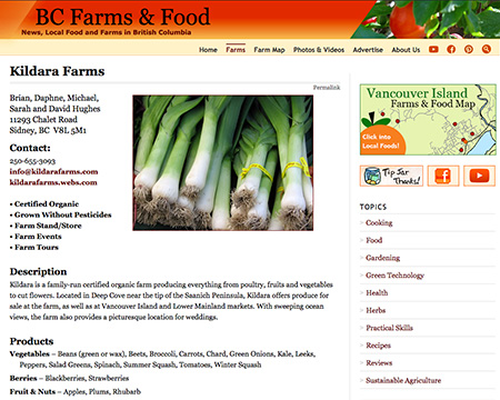 Sample of a basic farm listing page. List Your Farm. Vancouver Island Farms & Food Map at BC Farms & Food.