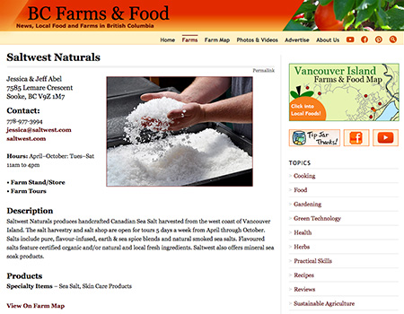 Sample of a farm page with a custom photo. List your farm on the Vancouver Island Farms & Food Map.