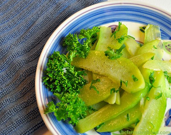 Sautéed chayote squash with parsley.