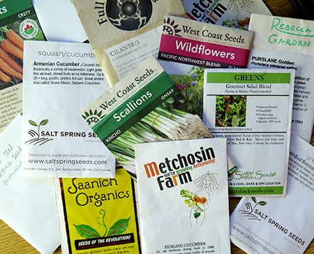 Packets of open-pollinated seeds for seed saving