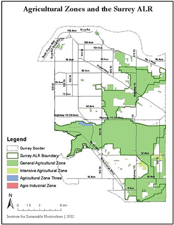 Map of the Agricultural Land Reserve in Surrey BC.