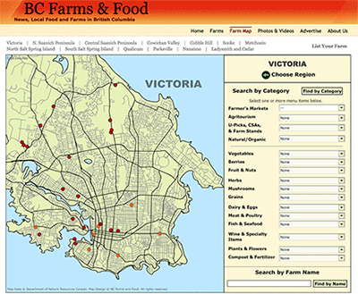 The Victoria region of the Vancouver Island Farms & Food Map from BC Farms & Food.