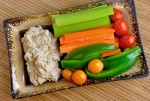Walnut Garlic Dip with raw vegetables