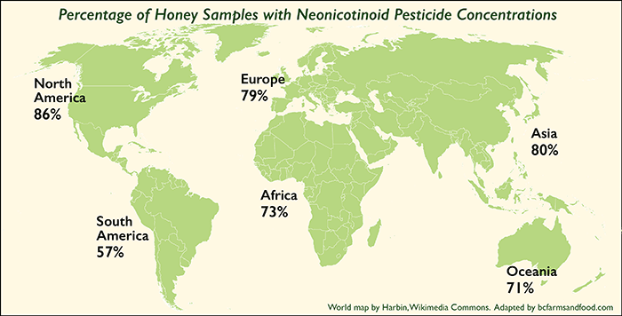 World Map Showing Neonicotinoid Pesticides in Honey - bcfarmsandfood.com